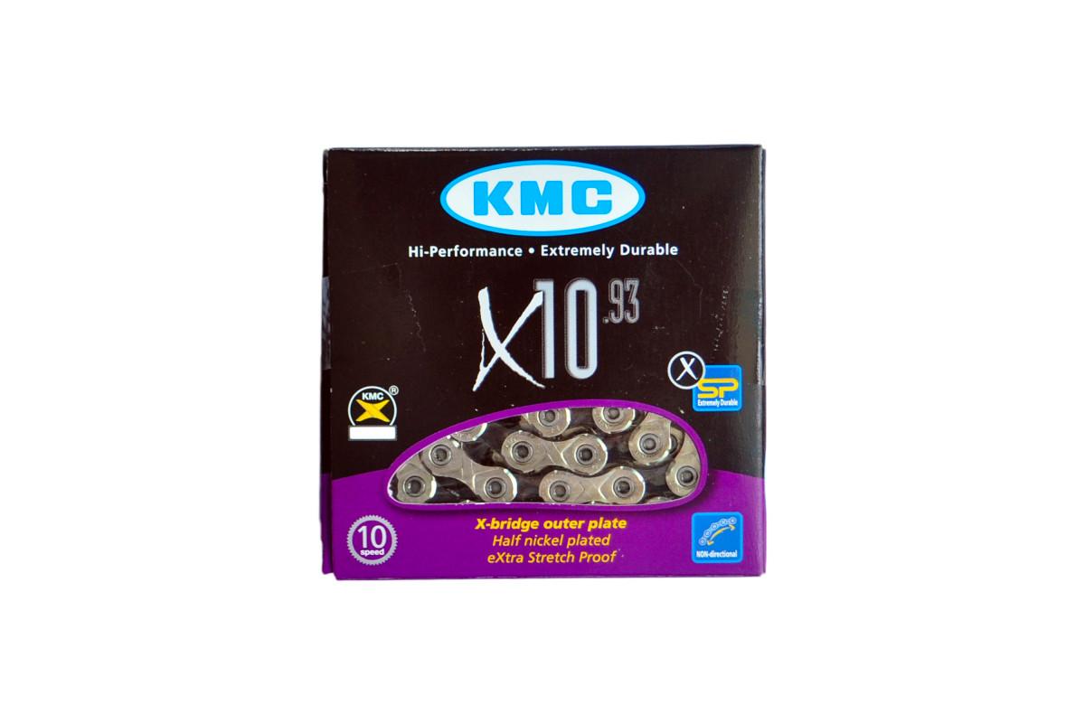 Ланцюг KMC X10-1 1/2х11/128х114L сріб/чорна, 10шв.